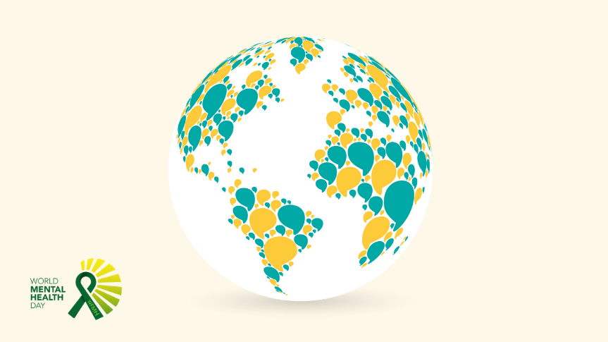 Togetherall Graphic with Globe and WMHD Logo