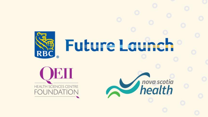 Togetherall Graphic with RBC Future Launch Logo, QEII Logo and Nova Scotia Logo