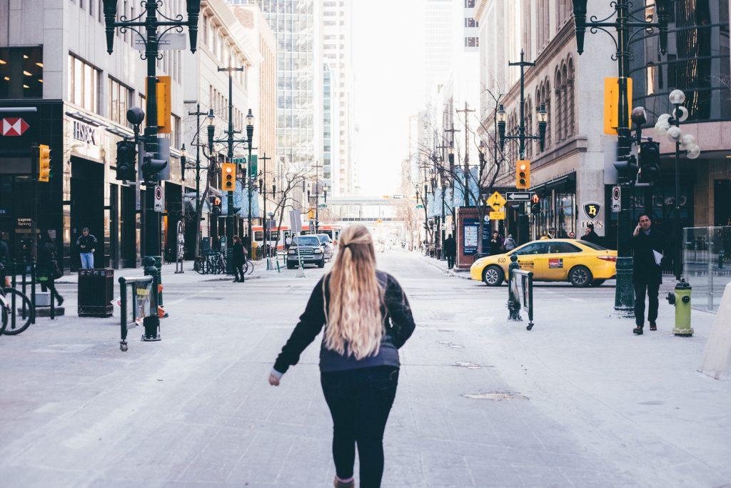 Woman walking in Calgary
