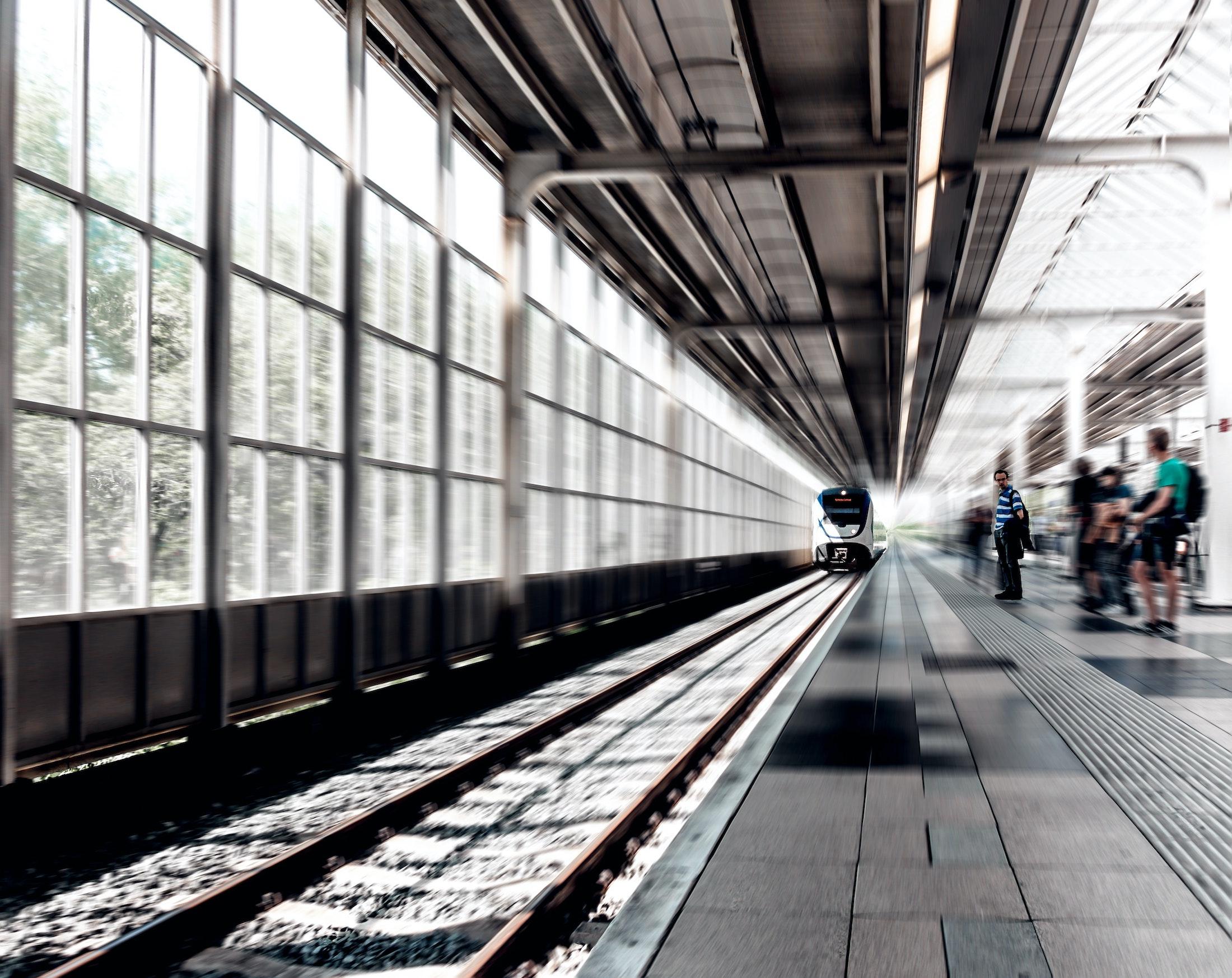 High speed train approaching the platform