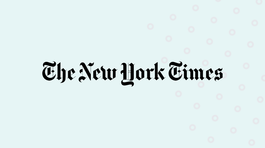 NY Times logo with background