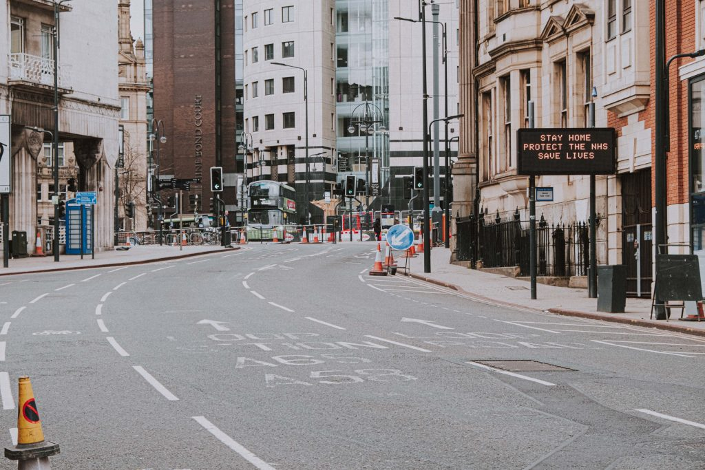 Empty streets during lockdown in the UK